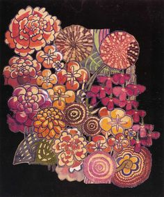 'Bouquet' 1915.  Charles Rennie Mackintosh (1868-1928) was one of the great designers of the Arts & Crafts Movement. He gave us the Dahlia, the Chrysanthemum, and of course, the Mackintosh Rose.