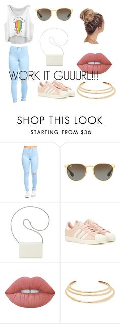 """CASUAL"" by omaha-magcon-fangirl on Polyvore featuring Ray-Ban, Nine West, adidas, Lime Crime and Kenneth Jay Lane"