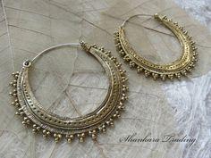 Tribal Brass Earrings, Gypsy Hoop Earrings, Brass Boho Earrings, Indian Earrings, Tribal Gypsy Earrings, Belly Dance Jewelry, Tribal Hoops