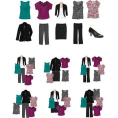 Minimalist 10 Piece Work Wardrobe by simplyfunfashion on Polyvore.  About $150 for the whole set, but all mix and match pieces for at least 24 different outfits! I like how the outfits are arranged.