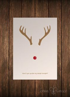 Rudolph Minimalist Card by BonniMaceDesigns on Etsy, $8.00