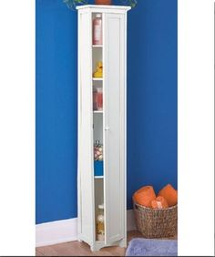Tall Wood Cabinet White Storage Shelves Slim Organizer Kitchen Bathroom Pantry  #Unbranded