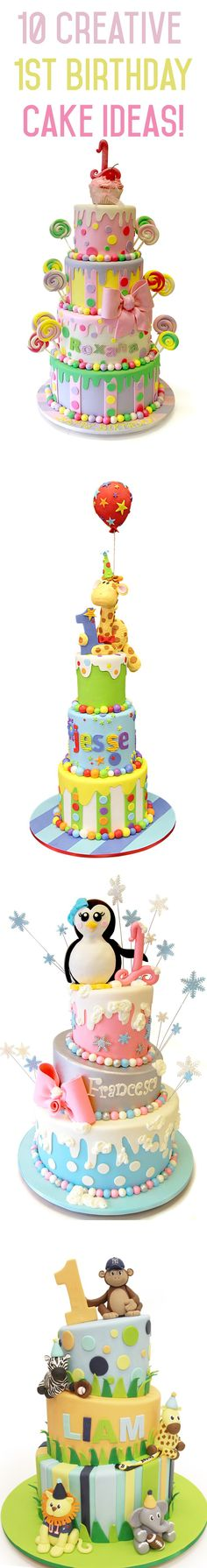 Check out our 10 creative 1st birthday cake ideas across a variety of of themes including Parisian, animal, cars, trucks, winter wonderland & more!