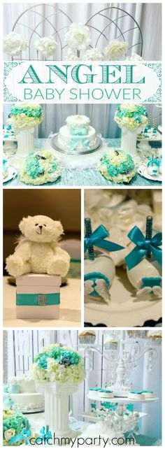 What a lovely angel themed baby shower party! See more party ideas at Catchmyparty.com!