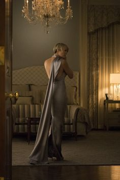 Claire Underwood getting ready for a State dinner in House of Cards. Style inspiration