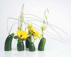 idées composition florale   Réaliser une composition florale Courgettes Soleil   Emilia Oliverio