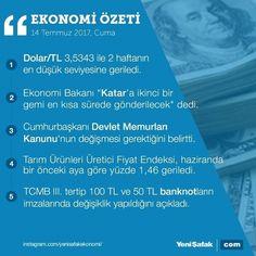 #EkonomininÖzeti 14 Temmuz'da ekonomi gündeminde yaşananların özeti #dolar #türklirası #qatar #katar #rte #receptayyiperdoğan #tcmb #para
