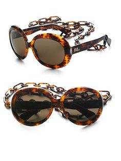 havana color round lense sunglasses w/ link chain