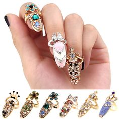 Women Fashion Bowknot Nail Ring Charm Crown Flower Crystal Finger Nail Rings in Jewelry & Watches, Fashion Jewelry, Rings Gothic Jewelry, Boho Jewelry, Jewelry Rings, Vintage Jewelry, Jewelry Design, Fashion Jewelry, Women Jewelry, Jewelry Watches, Bridal Jewelry