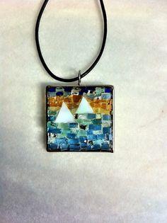 Glass sailboats mosaic pendant by Albedomosaics on Etsy, $50.00