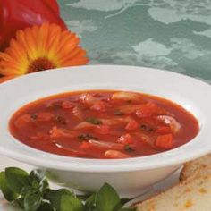 Onion Tomato Soup ~ Fresh herbs really make the difference in the flavor of this low-fat vegetarian soup