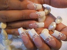 french manicure - white- bling - wedding - nail art
