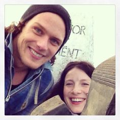 "Sam tweeted ""@Sam McHardy McHardy Heughan: She went up in... Heels... #classyClimber @caitrionambalfe"