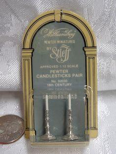 Williamsburg Stieff Pewter Pair Candlesticks #92030 Dollhouse Miniature NIP 1/12 #Williamsburg X Z