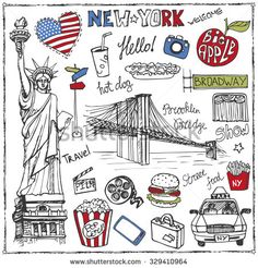 New York Doodle set. American travel symbols in hand drawn sketch. Vector icons, sign of landmark, food, lettering, retro Illustration, background.