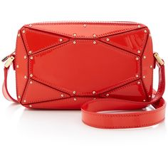 Elie Saab Radiant Patent Clutch (3 080 PLN) ❤ liked on Polyvore featuring bags, handbags, clutches, red, red handbags, studded purse, red clutches, red patent handbag and red patent leather purse