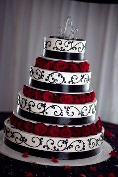 {Bridal Cake} Three tier wedding cake with red roses & black embossed vine design. #bridal #wedding #cake #weddingcake #gothic
