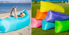 Lounge in style with these awesome Air Inflatable Loungers. No pump necessary and comes with it's own carrying case. Simply use the wind to fill up the lounger and you will be kicking back with your feet up in no time.