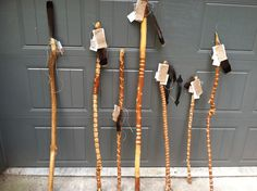First Series of walking Staffs I made for a garden shop in downtown Birmingham Alabama. These Staffs are made of Crape Myrtle which is pound for pound stronger than forged steel.  You can check out more creations on my etsy site at http://www.etsy.com/shop/heathlucas