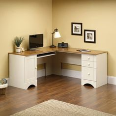 Corner Computer Desk with cottage design and Antiqued White finish.
