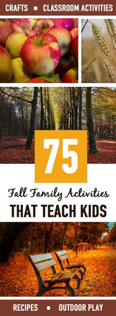 75 AMAZING fall family activities! I made a list of all the fall family activities that teach kids that I wanted to do this year. And while I know we won't get to all of these, I love having a master list of amazing fall family activities to choose from! There's everything from crafts, classroom activities, apple crafts/recipes, pumpkin crafts/recipes and outdoor fun.