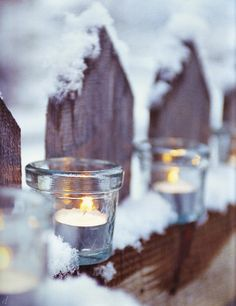 Winter Wonderland with outdoor decor with candles