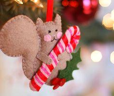 Felt Squirrel Holiday Ornament