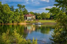 House on the shore of Lake Norman, in Cornelius, North Carolina. | Mounted Photo Print, Stretched Canvas, Metal Print Home Decor Wall Art.