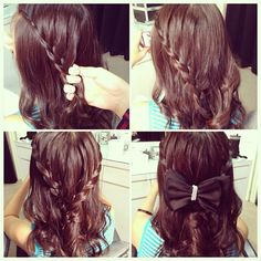5minutes Two sided French braid. One sided French braid start from left till the middle then do another side. Finally twist both braid together then Pinot with bobbi pins. Finish with a bow