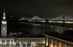 Night view of the beautiful Bay bridge.