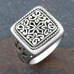 Handmade Sterling Silver Square Face Cawi Ring (Indonesia) (6), White