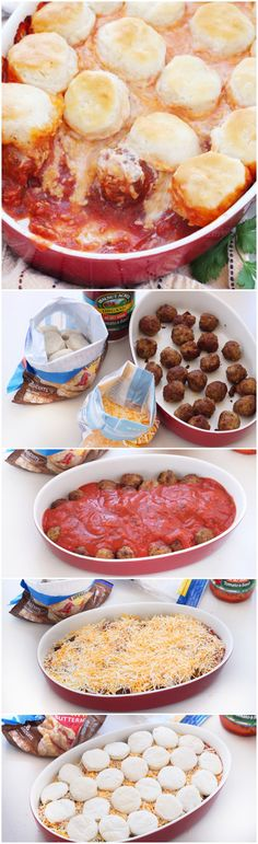 Upside Down Meatball Casserole Recipe — A simple recipe for upside down meatball casserole. With less than 15 minutes of prep time, this hearty & satisfying casserole is comfort food at its best. Serve warm with more grated cheese on top!