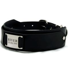 Large Leather Dog Collar -- Personalized with Stainless Steel Pet ID T – PupPanache.com