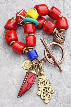 Untraditional Christmas Bracelet: Bold and Chunky Red Tibetan Glass Cross Tusk Charm Statement Bracelet Handmade Jewelry Bracelets, Red Jewelry, Cute Jewelry, Beaded Jewelry, Jewelry Necklaces, Baby Jewelry, Statement Jewelry, Jewellery, Jewelry Making