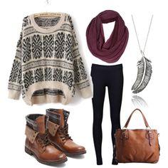 winter sweater, black pants, combat boots