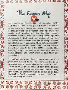 the Reason Why - December Daily 2016