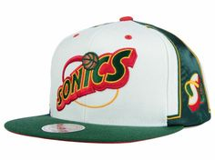 582db91989f Seattle SuperSonics Mitchell and Ness White NBA Game Day Snapback Cap Hats