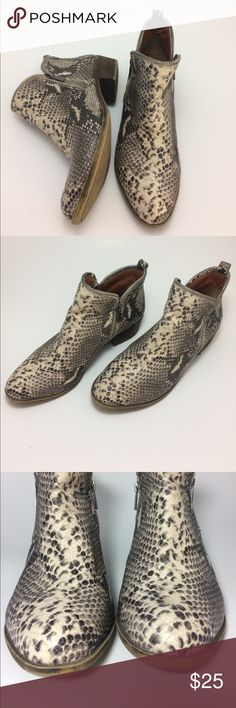 Lucky Brand Bartalino Faux Snake Ankle Boot Real leather upper with scale stamping and snake print. Looks convincing!! Very comfortable and a great edgy neutral. US size 9.5 Euro size 39.5 Lucky Brand Shoes Ankle Boots & Booties