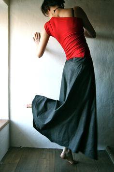 Maxi Skirt  long grey skirt  floor length tartan by larimeloom, €95.00