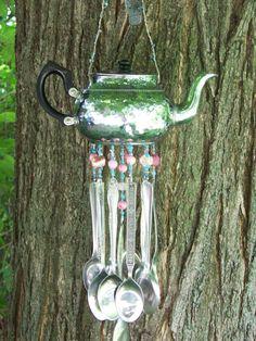 Silverware Windchime  Hammered Tea Pot by malindadickens on Etsy, $27.50