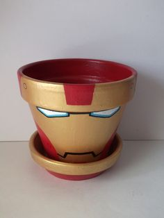 Iron+Man+Avengers+Deluxe+Painted+Flower+Pot+with+by+GingerPots,+$24.00