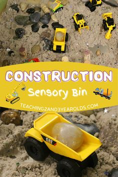 It's easy to make a construction sensory bin when using kinetic sand. Simply mix it with some loose parts and add construction vehicles, and it's ready to go! #construction #sensory #bin #activity #sand #play #toddlers #preschool #2yearolds #3yearolds #teaching2and3yearolds