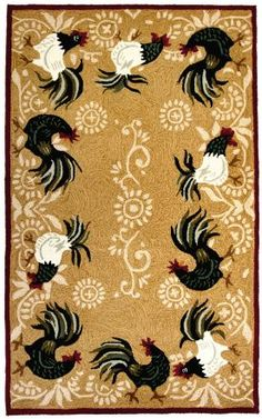 Homefires Rugs Homefires Living Rooster Time Brown Rug; This is so  pretty....I love this for a kitchen also:)