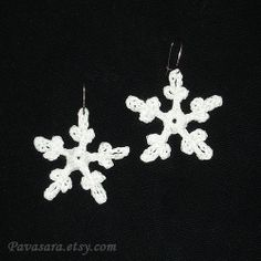 Crochet white snowflake earrings  1.6 lightweight and by Pavasara, $7.00