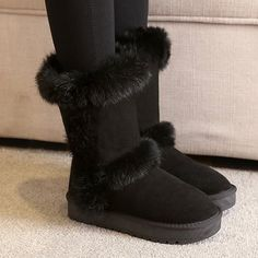 Mid Calf Furry Snow Boots #CLICK! #clothing, #shoes, #jewelry, #women, #men, #hats, #watches