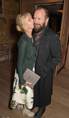 Loved-up: Trudie Styler planted a kiss on her husband Sting's cheek at the afterparty, hel...