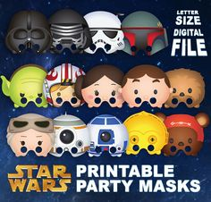 Star Wars Tsum Tsum Character Party Masks: Letter by OhWowDesign