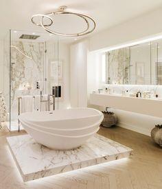 London by Kelly Hoppen Interiors on Decor Interior Design, Interior Decorating, Decorating Ideas, Decorating Kitchen, Kelly Hoppen Interiors, Wood Bathroom, Bathroom Ideas, Bathroom Spa, Bathroom Modern