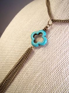 Antique Bronze Howlite Turquoise Quatrefoil Chain Tassel Simple Layering Statement Necklace by CarmenRVT on Etsy