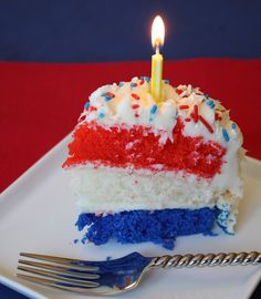 Red, White, and Blue Cake--for the 4th of July (or Bastille Day).